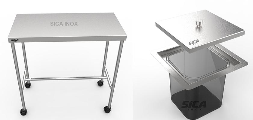 mesa auxiliar e lixeira em Aço inoxidável
